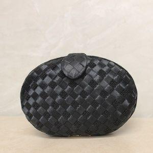 Delill Black Satin Evening Clutch Shoulder Bag